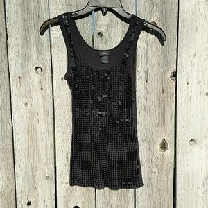 Sequin black tank top size small